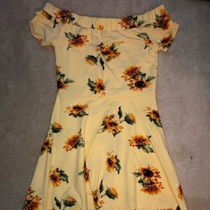 Yellow Sunflower Off-The-Shoulder Dress